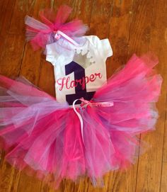 Personalized 1st Birthday onesie and tutu outfit by ejahart, $37.00