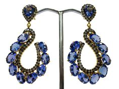 Stunning Pair Of Earring By Gemvanity Having Natural Tanzanites & Studded Diamonds. See More @ https://www.facebook.com/Gemvanity