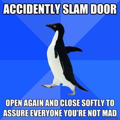 accidently slam door open again and close softly to assure  - Socially Awkward Penguin