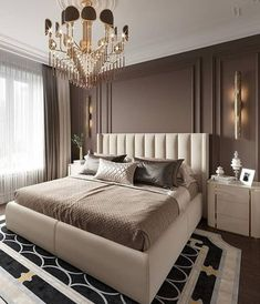 Art deco, crystal, and gold chandeliers are some of the hypothesis to get dramatic and sculptural master bedroom décors. Bedroom Chandeliers are perfect accessories to add drama to any bedroom interior. Luxury Bedroom Design, Master Bedroom Design, Luxury Home Decor, Interior Design Living Room, Master Suite, Luxury Bedroom Furniture, Interior Livingroom, Room Decor Bedroom Rose Gold, Home Decor Bedroom