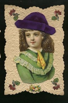 Dressed Embossed Scrap Paper Doll on Valentine c1890