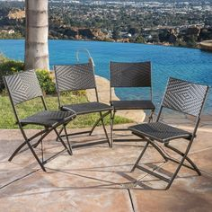 Christopher Knight Home El Paso Outdoor Brown Wicker Folding Chair (Set of 4) - This may be the perfect solution for us.
