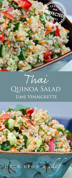 Thai Quinoa Salad with Fresh Herbs and Lime Vinaigrette This vibrant and fresh Thai Quinoa Salad is adapted from one of my favorite cookbooks. It's a healthy eater's dream: flavorful, chock-full of protein and veggies, satisfying and low in fat. #thaisalad #quinoasalad #saladrecipes
