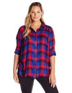 6242f897888 Lucky Brand Women s Plus-Size Bungalow Plaid Shirt Lucky Brand plus long  sleeve fashion button down boyfriend shirt with multi-colored plaid
