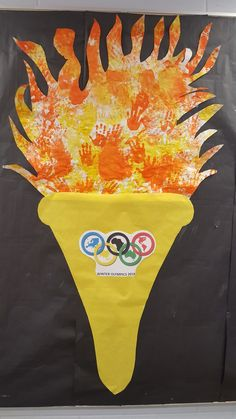 Olympic Torch w/class handprints for flame