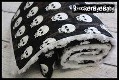 Boy Grunge Skull baby or toddler blanket Punk Rock Skull and heart black tan and white minky swirl by RockerByeBaby on Etsy https://www.etsy.com/listing/150311951/boy-grunge-skull-baby-or-toddler-blanket