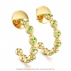 Allegretto Earrings with Round Peridot in 14k Yellow Gold #peridot #earrings