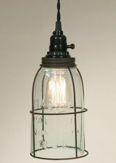 Details about Rustic Half Gallon Caged Mason Jar Open Bottom Industrial Pendant Light Lamp GR Gallon Mason Jars, Mason Jar Diy, Mason Jar Lamp, Mason Jar Pendant Light, Mason Jar Lighting, Kitchen Lighting, Industrial Pendant Lights, Pendant Lamp, Brass Pendant