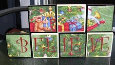 Wooden Christmas Blocks Believe Holiday by QueenBeeInspirations
