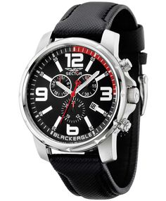 SECTOR Urban Black Eagle Black Leather Strap  199€  http://www.oroloi.gr/product_info.php?products_id=30926