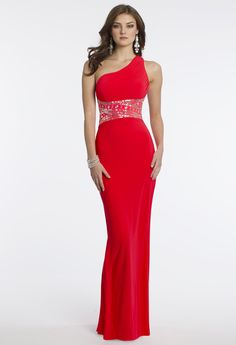Camille La Vie Jersey One Shoulder Prom Dress and Open Back Detail