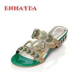 5abebdc55d5dcd ENMAYDA New Sexy Platform Summer Shoes Casual Flip Flops Fashion Rhinestone  Sandals Square Heel Flower Cutout