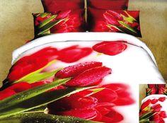 3D posteľné obliečky bielej farby s červeným tulipánom