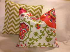 Green Chevron and Bright Floral Pillow Set by decor8diva on Etsy-one of my favorite sets
