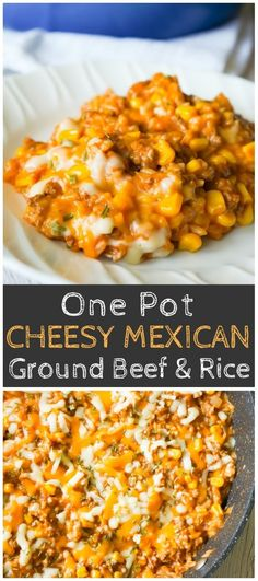 One Pot Mexican Ground Beef and Rice is a stove top dinner recipe loaded with ground beef, rice, salsa, corn and cheese. dinner recipes with ground beef One Pot Mexican Ground Beef and Rice - This is Not Diet Food Ground Beef Recipes For Dinner, Dinner With Ground Beef, Supper Recipes, Easy Dinner Recipes, Easy Meals, Ground Beef Recipes Mexican, Quick Supper Ideas, Dinner Ideas, Quick Recipes