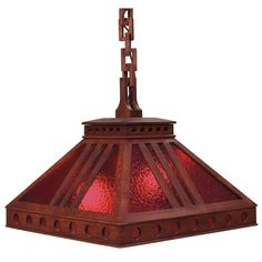 """Arts and Crafts hanging fixture, cut-out pyramidal shade with red glass panels, held by a wooden link chain, 19""""w x 19""""d x 16""""h"""