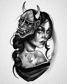 Bild könnte enthalten: 1 Person old school frases hombres hombres brazo ideas impresionantes japoneses pequeños tattoo Geisha Tattoos, Geisha Tattoo Design, Neotraditionelles Tattoo, Mask Tattoo, Tattoo Drawings, Tattoo Thigh, Japanese Tattoo Designs, Japanese Tattoo Art, Tattoo Girls