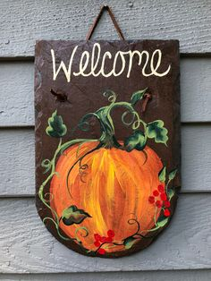 Painted Slate, Hand Painted, Slate Signs, Fall Door Hangers, Painted Pumpkins, Happy Fall, Plant Holders, Porch Decorating, Wooden Signs