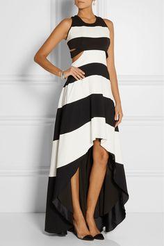 Jay AhrAsymmetric cutout stretch-crepe gown