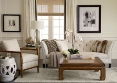 Ethan Allen Neutral Interiors. Featuring our new and popular Shelton sofa. A designer favorite.