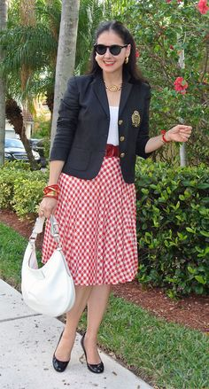 #Crested blazer + red print skirt + red belt + Gold accessories