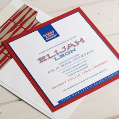 Great Red White and Blue Bar Mitzvah Invitation.   Love the use of different fonts.
