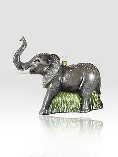 Jay Strongwater Elephant Glass Ornament @ http://www.saksfifthavenue.com/main/ProductDetail.jsp?FOLDER%3C%3Efolder_id=2534374306603150%3C%3Eprd_id=845524446529579=848510010092_name=Jay+Strongwater=306603150=jJ2.6J.