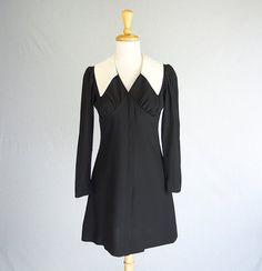 Mod Vintage Babydoll Dress Black & White Collar by madvintage