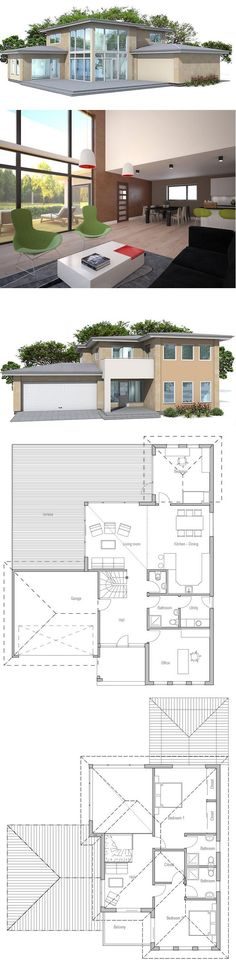 Modern House Plan. Open and spacious living areas, three bedrooms, big windows.