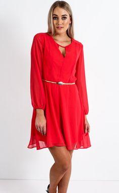 Chiffon V Insert Long Sleeve Dress Coral