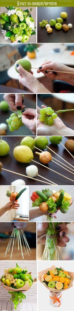Букет из овощей и фруктов: подарки своими руками