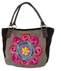 Mandala Majesty Embroidered Tweed Handbag at The Hunger Site. $20. Purchase funds 50 cups of food to feed the hungry.