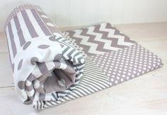 Baby Blanket, Unisex Patchwork Baby Blanket, Gender Neutral Baby Blanket, Photography Prop, Gray, Grey, Chevron, Dots, Stripes, Gingham