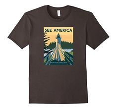 Acadia National Park Vintage Graphic Tee. This Graphic Tee Shirt features a beautiful Retro, Historic Americana, WPA Poster. Federal Art Project. US Travel Bureau Poster. 1930's Protect and Preserve nature. Maine's Mount Desert Island. Its landscape is marked by woodland, rocky beaches and glacier-scoured granite peaks such as Cadillac Mountain, the highest point on the United States' East Coast. Among the wildlife are moose, bear, whales and seabirds. http://amzn.to/2dOqba8