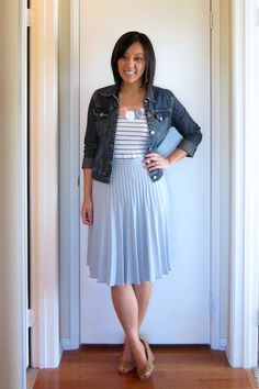Recreate this with my thrifted blue skirt, blue and white striped top, and jean jacket Cute Spring Outfits, Cute Outfits, Summer Outfit, Spring Summer Fashion, Spring School, Spring Style, Lace Tee, Black Lace Tops, Pink Tops