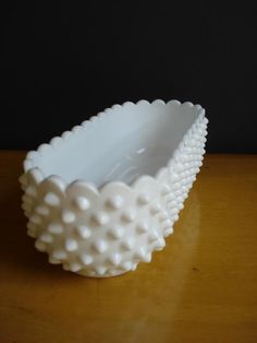 Vintage Milk Glass Hobnail Planter - Fenton Milkglass Oblong. $36.00, via Etsy.
