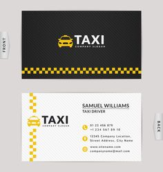 Taxi business card yellow with black color vector template 02 - WeLoveSoLo Business Card Design, Unique Business Cards, Name Boards, Company Slogans, Color Vector, Design Taxi, Business Names, Letterpress Business Cards, Card Templates