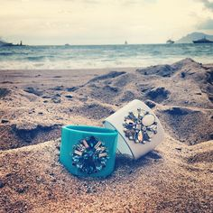 Swarovski's Triumphal Cuffs are enjoying a moment away from the Cannes red carpets: look at them sparkle on the beach! #SwarovskiCannes