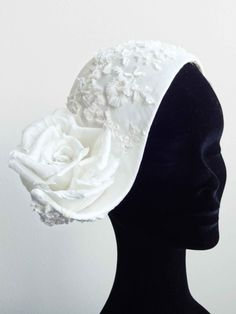 Ivory fine silk dupioni handmade headpiece covered with Italian lace, decorated with handmade rose.