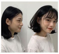 Short Hair Styles For Round Faces, Short Hair Cuts, Medium Hair Styles, Curly Hair Styles, Short Bob Hairstyles, Hairstyles With Bangs, Haircuts, Korean Short Hair Bob, Korean Bob