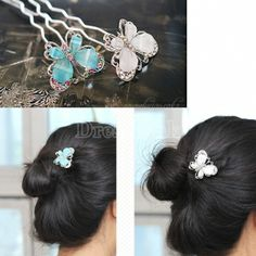 New Fashion Cute Crystal Butterfly Hairpin Hair Pin Accessories