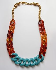 Tortoise & Blue Link Necklace.
