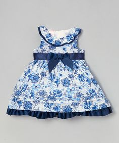 Look what I found on #zulily! Navy Floral Yoke Dress - Infant, Toddler & Girls by Nannette #zulilyfinds