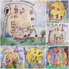Na návštěvě u hlemýždě...  Vytvořili předškoláci v našem výtvarném studiu.