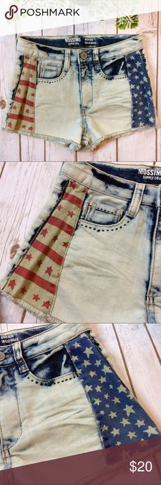 """🇺🇸 Americana High Rise Vintage Wash Shorts Stars and Stripes light wash denim high rise short shorts. Blue embroidered details around front pockets.   🌼 Waist: 27"""" 🌼 Inseam: 2"""" 🌼 Front Rise: 10"""" 🌼 Back Rise: 12.5"""" 🌼 Fabric Content: 62% cotton, 37% polyester, 1% spandex Mossimo Supply Co Shorts Jean Shorts"""