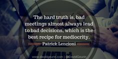 I recently read Death by Meeting by Patrick Lencioni. This book is a must read for any leader who wants to improve the quality of meeti. Importance Of Leadership, Leadership Coaching, Educational Leadership, Online Coaching, Organization Development, Life Coach Certification, Life Coach Training, Hard Truth, How To Speak Spanish