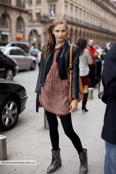 Black leggings with grey Dr. Martens boots. fuckyeahmodels:  Dorothea Barth Jorgensen stockholmstreetstyle