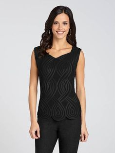 "Laura Petites: for women 5' 4"" and under. Boasting soutache detailing and an on-trend scalloped edge, this gorgeous camisole is perfect to wear under a blazer for work or to wear solo on an evening out!...4030337-0603"