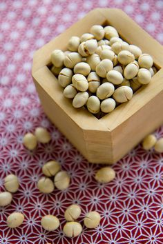 "Beans for Setsubun. 節分 People celebrate Setsubun by throwing beans, called Mame-Maki, to dispel bad luck.  ""Oni-wa-soto!"" which means ""out with the demon!"" or ""Fuku-wa-uchi!"" means ""In with fortune!"""