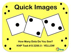 """Quick Images"" - Tell quantities up to 3. Supports learning Common Core Standards: 0-K.OA.5,  0-K.OA.1 [KNP Task # S 2295.0]"